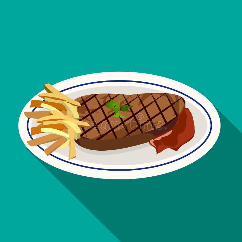 Filete asado a la parrilla de la carne con las patatas fritas en plato stock de ilustración
