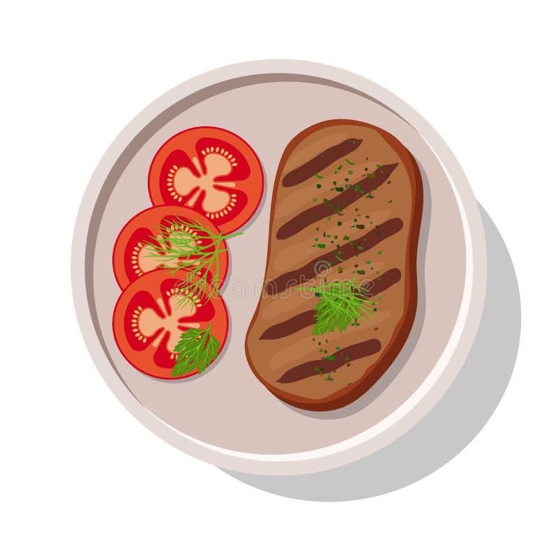 Filete asado a la parrilla de la carne con los tomates stock de ilustración