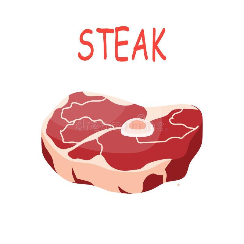 Filete crudo fresco de la carne de cerdo ilustración del vector