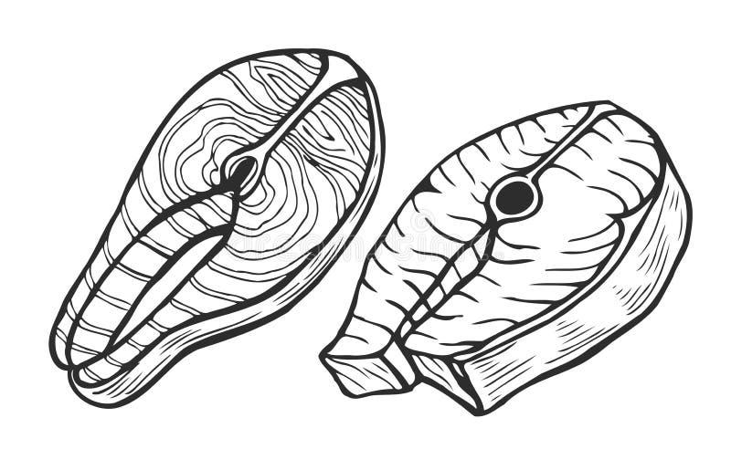 Filete de atún de color salmón de los pescados stock de ilustración