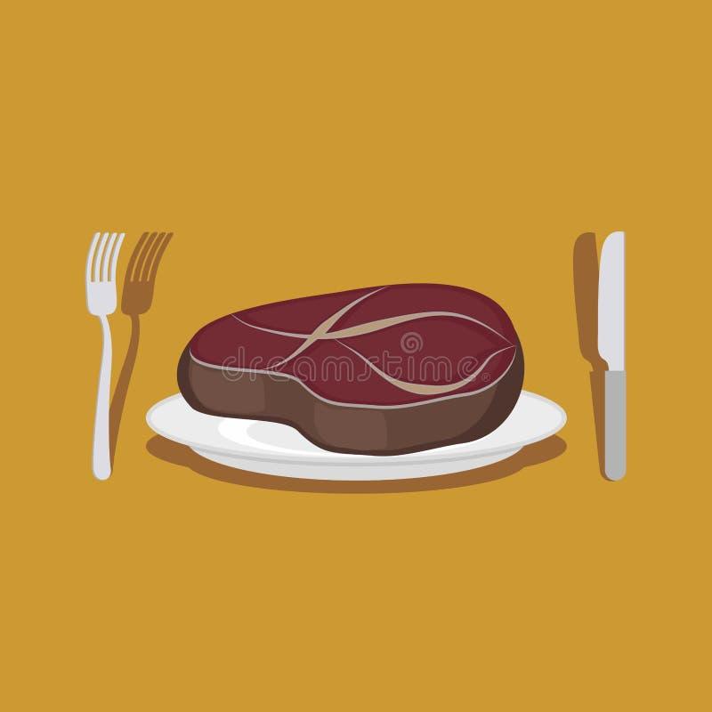 Filete de carne de vaca Cubiertos: cuchillo y bifurcación Ilustración del vector ilustración del vector