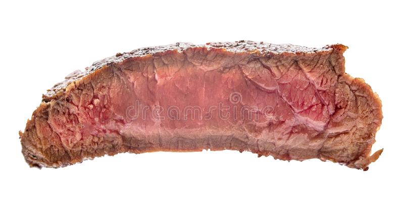 Filete de carne de vaca crudo, un pedazo de carne aislado en el fondo blanco imágenes de archivo libres de regalías