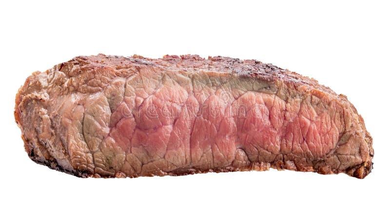 Filete de carne de vaca crudo, un pedazo de carne aislado en el fondo blanco fotografía de archivo