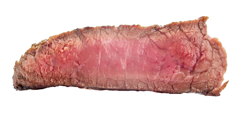 Filete de carne de vaca crudo, un pedazo de carne aislado en el fondo blanco fotos de archivo