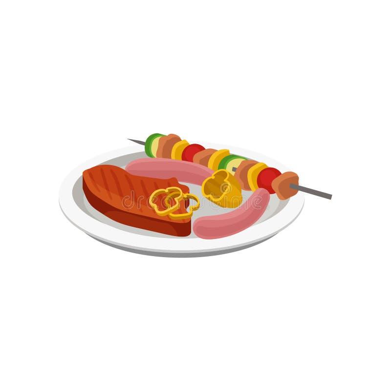 Filete de carne de vaca, kebab de la barbacoa y salchichas asados a la parrilla en una placa, ejemplo del vector de la comida de  ilustración del vector