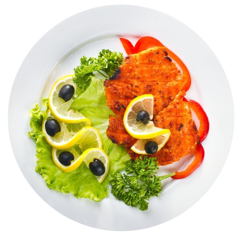 Filete de color salmón asado a la parrilla curruscante imagen de archivo