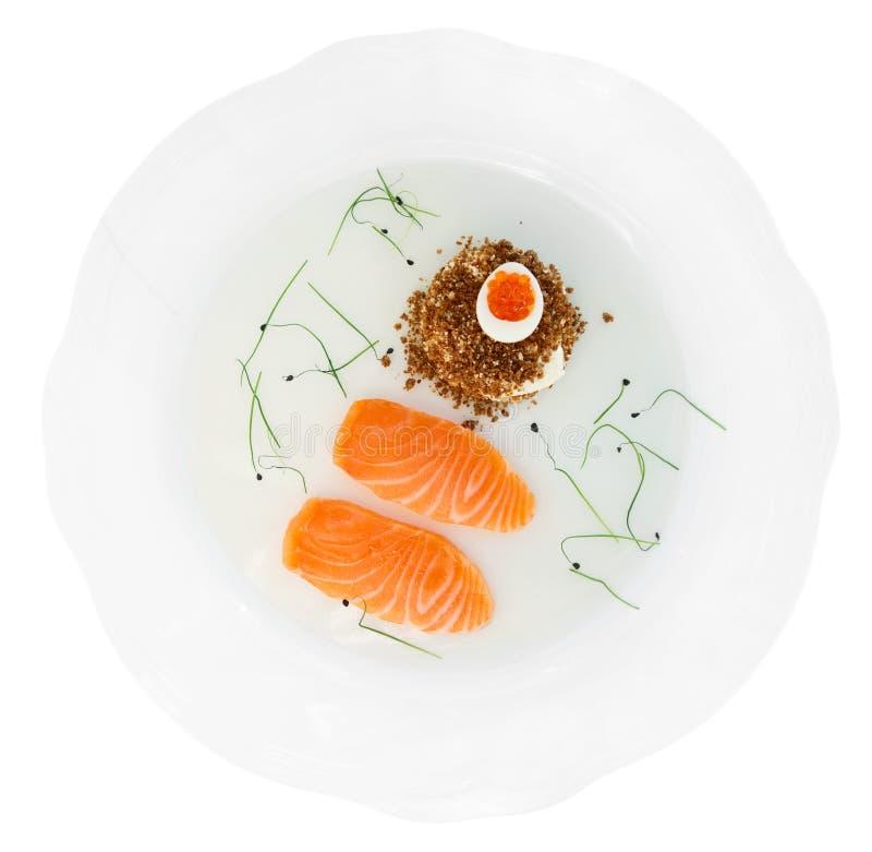 Filete de color salmón con pan y el caviar imagen de archivo libre de regalías