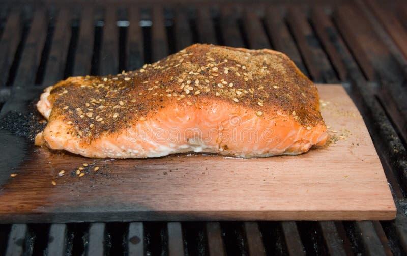 Filete de color salmón en el humo del tablón del cedro que cocina en el Bbq fotografía de archivo