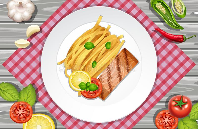 Filete de color salmón y pastas en la placa ilustración del vector