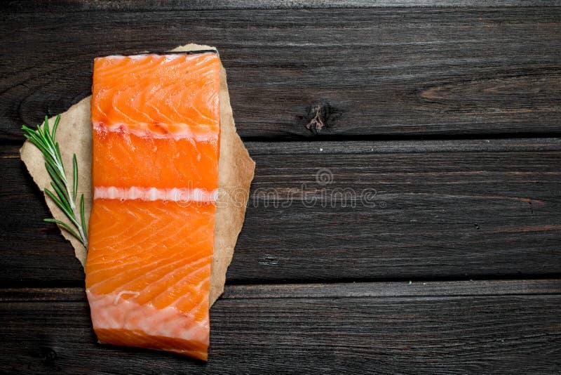 Filete de pescados de color salmón crudo con una puntilla del romero fotos de archivo