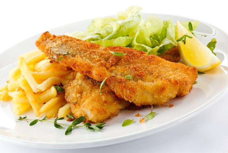 Filete de pescados frito foto de archivo