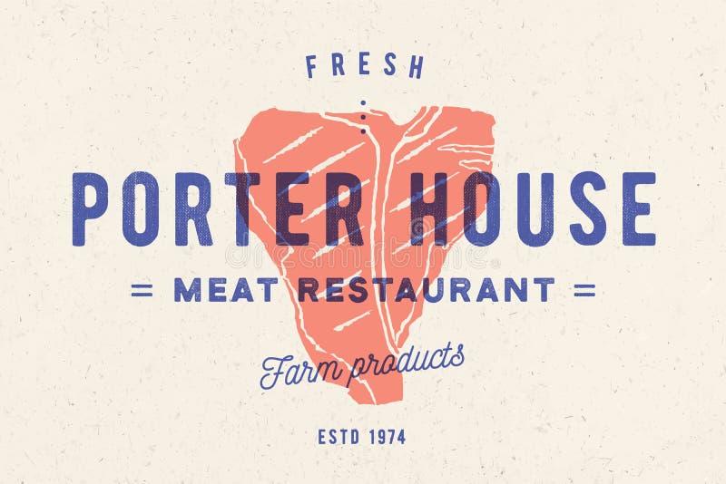 Filete, logotipo, etiqueta de la carne Logotipo con la silueta del filete, casa del portero del filete del texto stock de ilustración