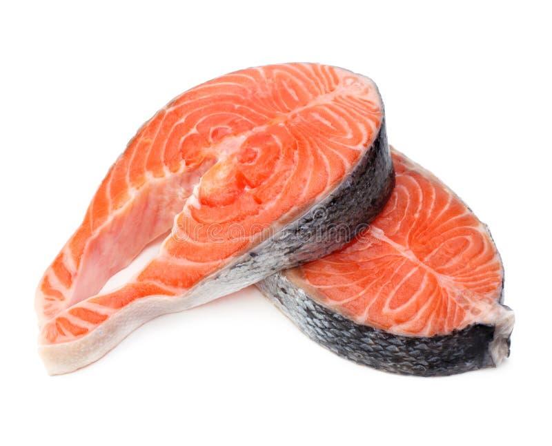 Filete sin procesar de los pescados de color salmón fotos de archivo