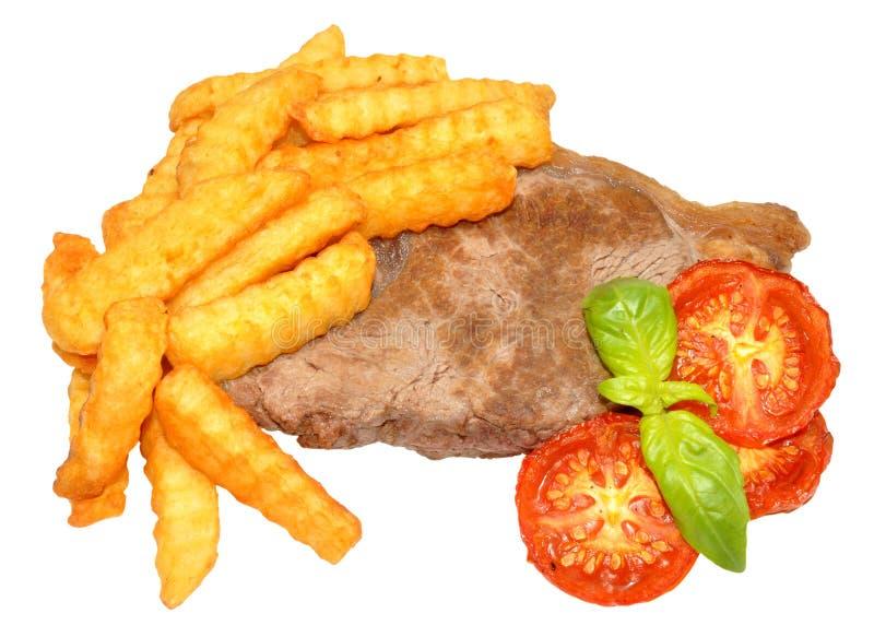 Download Filete Y Chips With Grilled Tomatoes Imagen de archivo - Imagen de virutas, tomates: 42431009