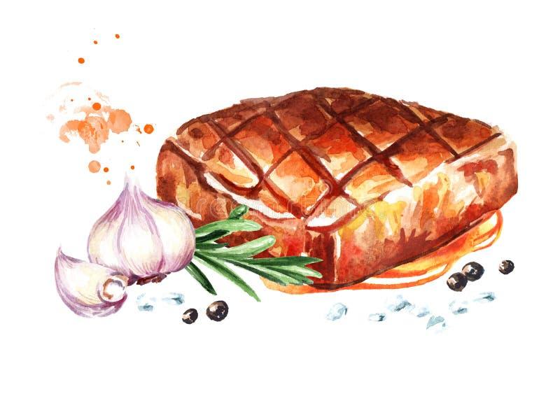 Filetes de carne de vaca asados a la parrilla con las especias Ejemplo dibujado mano de la acuarela, aislado en el fondo blanco stock de ilustración