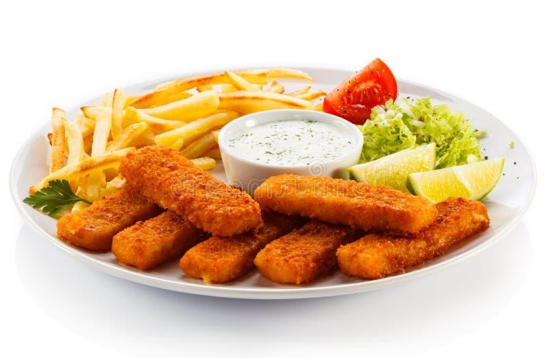 Filetes de pescados fritos imagen de archivo