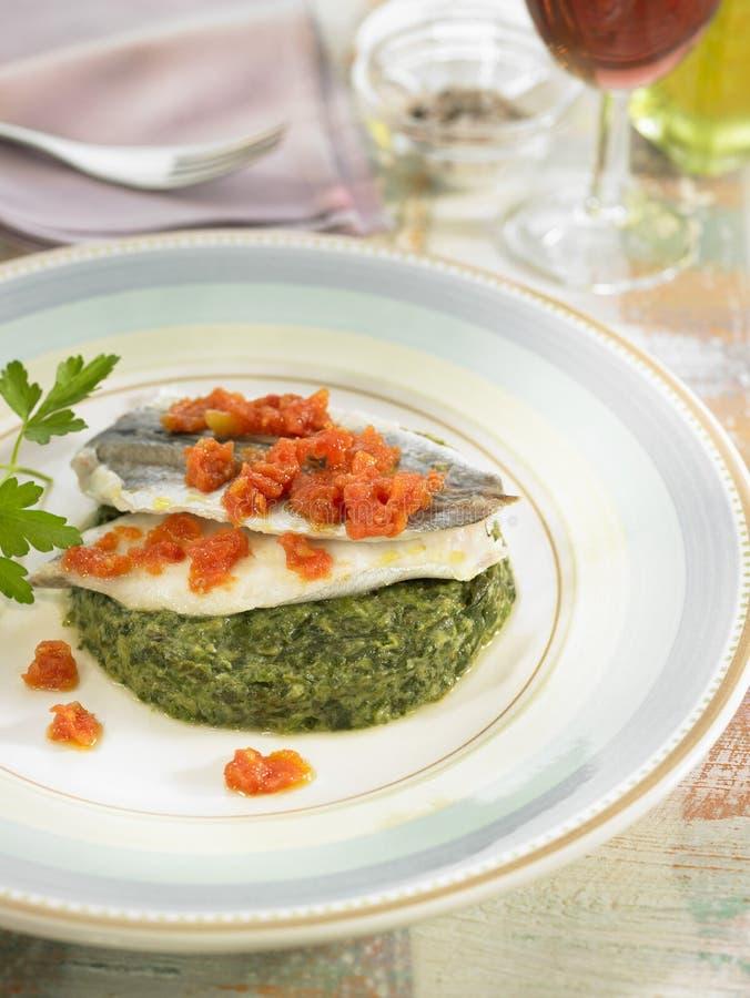 Filets de merlans bleus avec des épinards et des tomates photographie stock