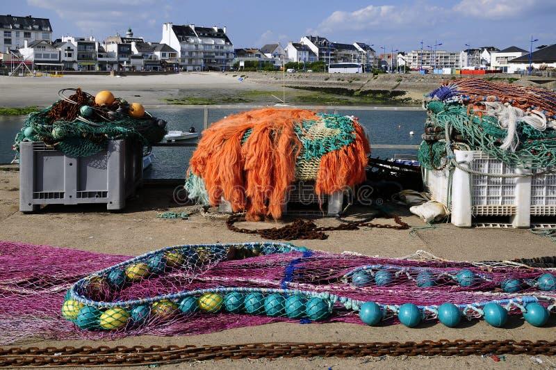 Filets de pêche chez Quiberon en France photographie stock