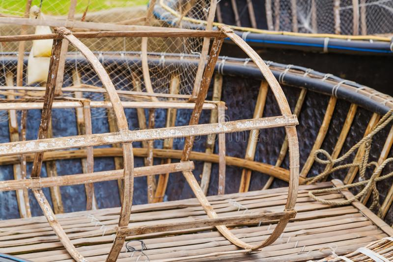 Filets de pièges de pêche vietnamiens de poissons de crabe de homard image stock