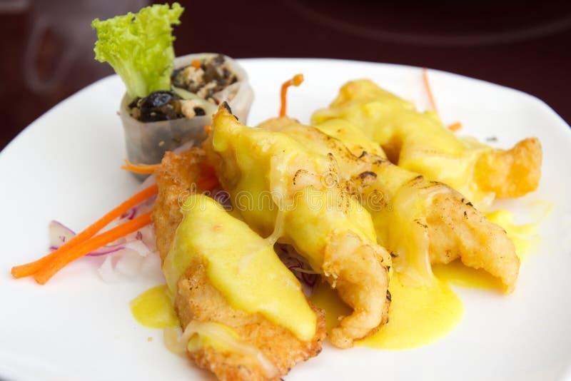 Filetti di pesce cotti con la salsa di formaggio fotografia stock libera da diritti