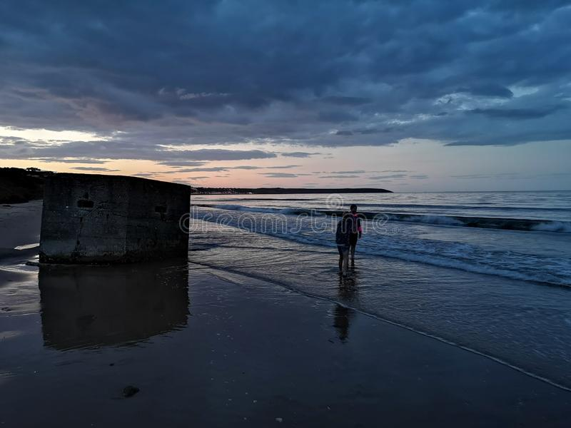 Filey Bay Beach em Dusk foto de stock