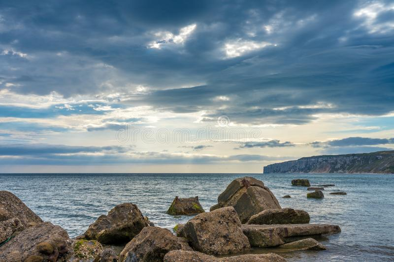 Filey bay Beach on Yorkshire coast near Reighton Gap royalty free stock image