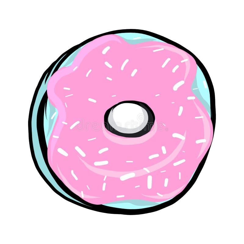 Filhós doce com crosta de gelo cor-de-rosa ilustração do vetor