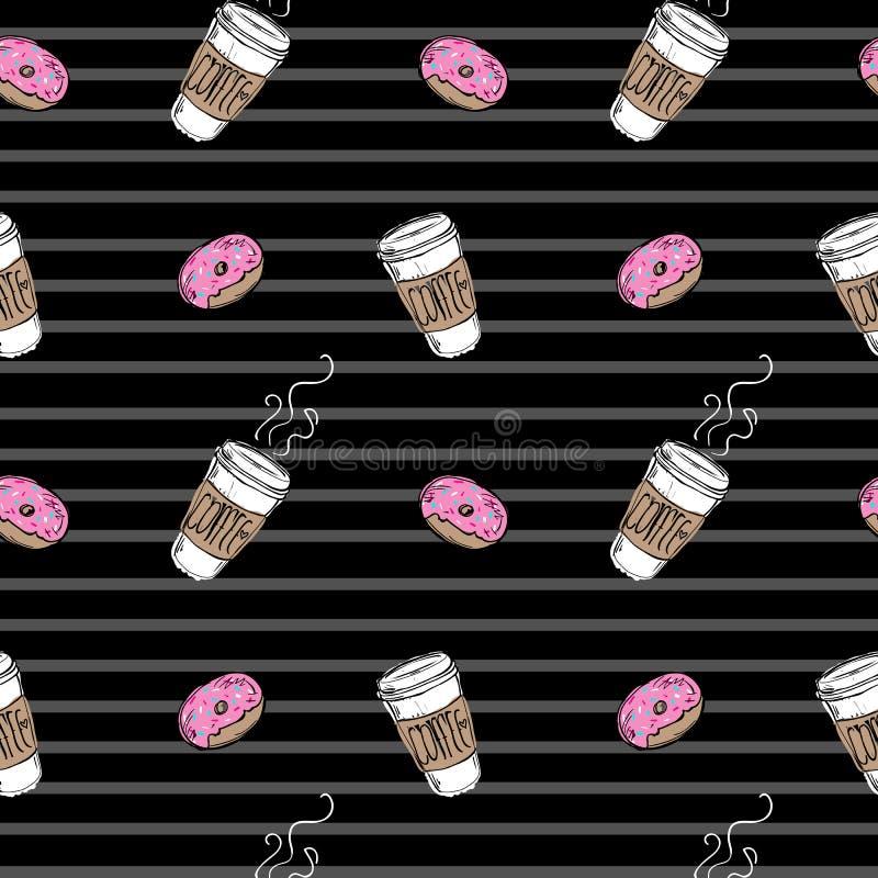 Filhós e café sem emenda do teste padrão em fundo preto listrado ilustração royalty free