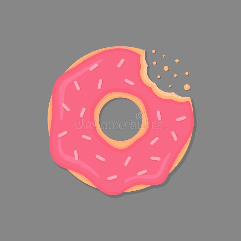 A filhós mordida com crosta de gelo cor-de-rosa e polvilha Filhós dos desenhos animados Ícone da filhós do vetor ilustração royalty free