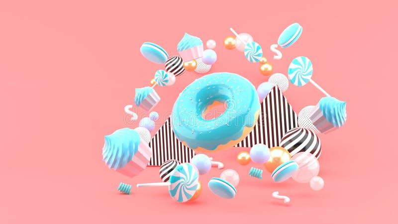 Filhós, queques, Macaron, doces que flutuam entre bolas coloridas em um fundo cor-de-rosa r ilustração royalty free