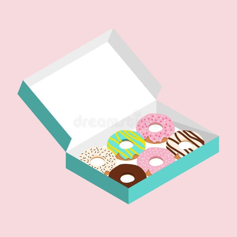 Filhóses bonitos na caixa de papel verde de turquesa no fundo cor-de-rosa pastel ilustração royalty free