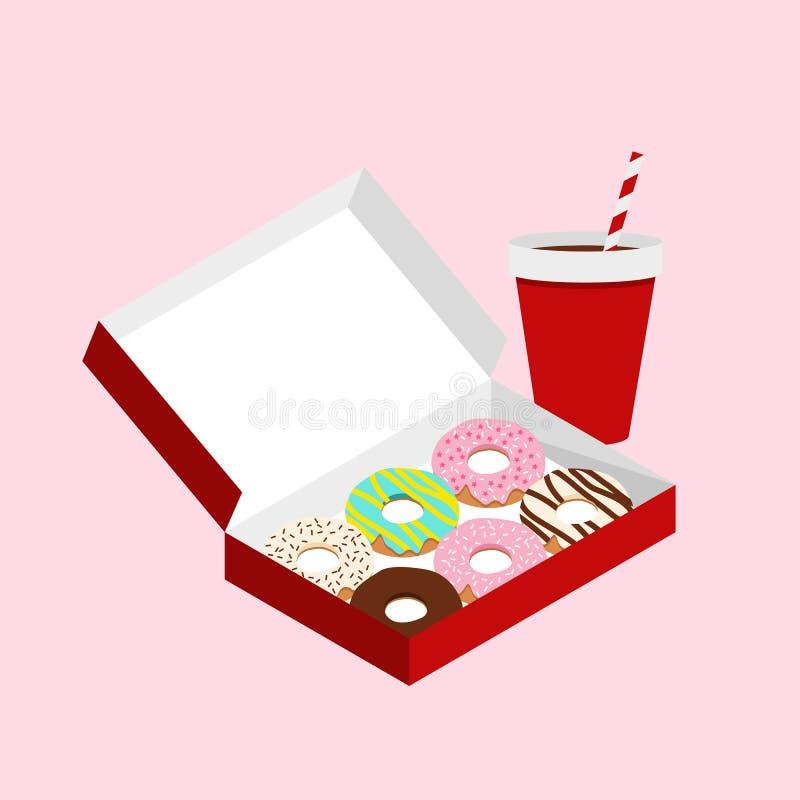 Filhóses bonitos na caixa de papel vermelha no fundo cor-de-rosa pastel ilustração stock