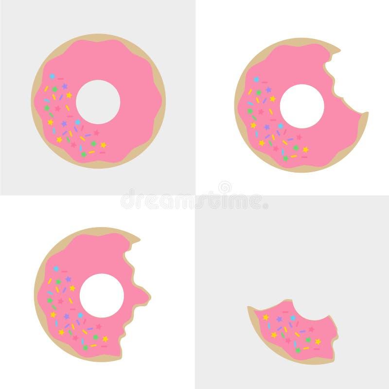 Filhóses do sabor da morango com brilho do açúcar do arco-íris ilustração do vetor