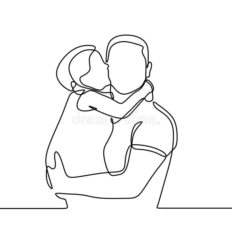 Filha para beijar seu a l?pis cont?nuo desenho do pai um Uma falta da crian?a da menina e um paizinho do amor ilustração royalty free