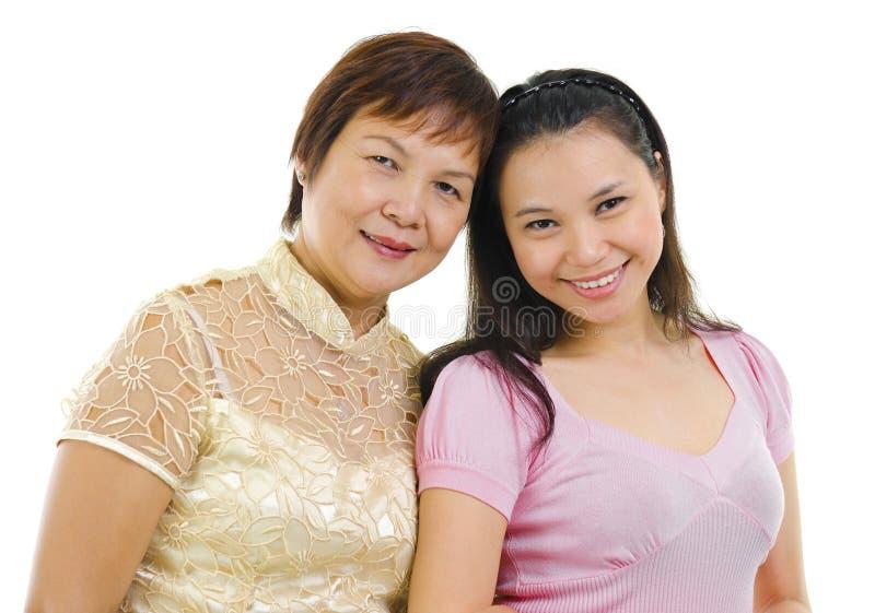 Filha sênior asiática da matriz e do adulto imagens de stock