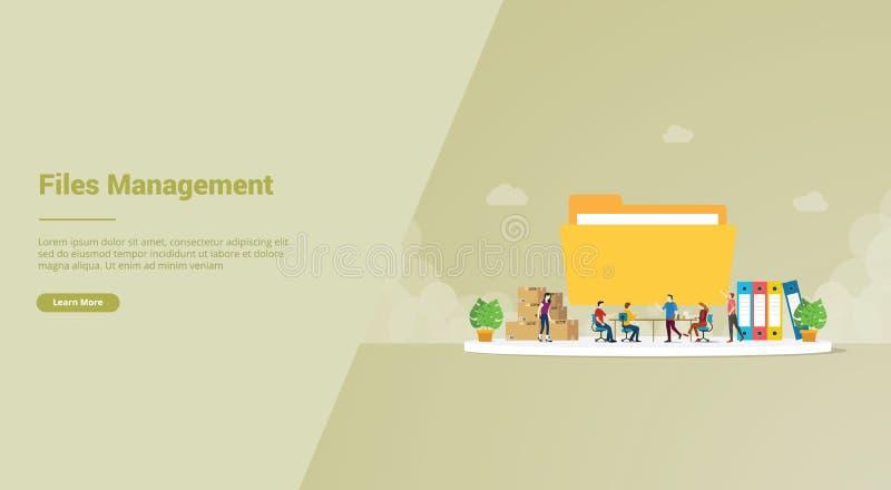Filhanteringseffektivitetskoncept för webbplatsmall eller landningsstartsida - vektor arkivfoto