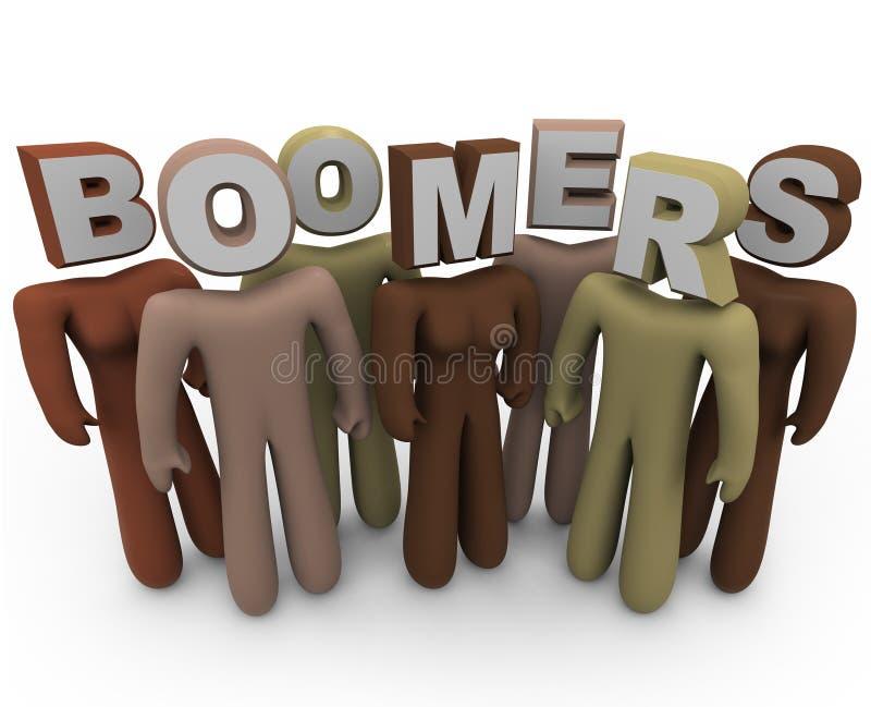 Filho do baby-boom - povos de raças diferentes e da idade mais velha ilustração stock