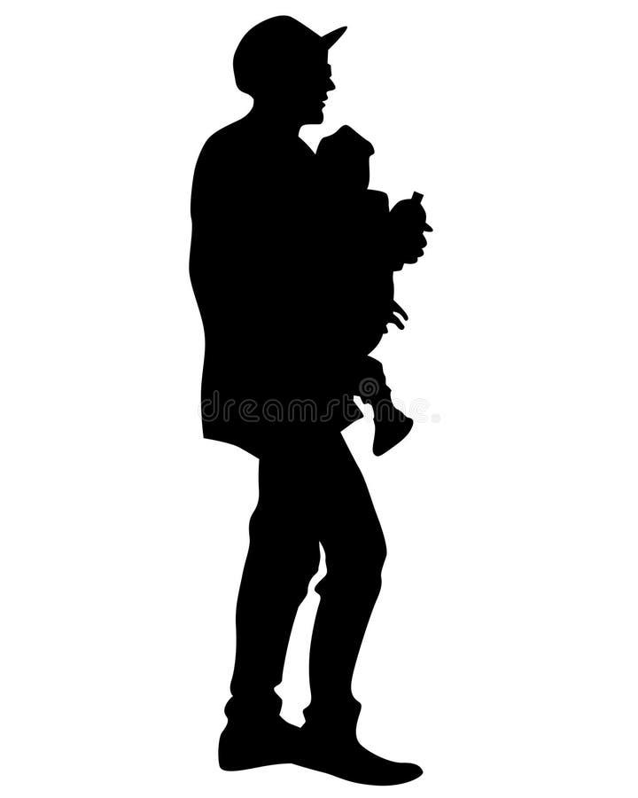 Filho dois do whit do pai ilustração royalty free