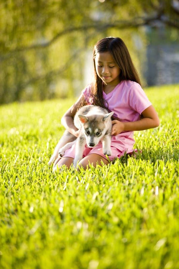 Filhote de cachorro asiático novo da terra arrendada da menina que senta-se na grama foto de stock royalty free