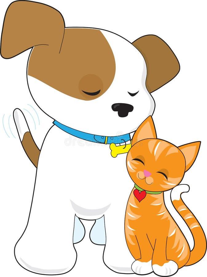 Filhote de cachorro bonito e gato ilustração do vetor