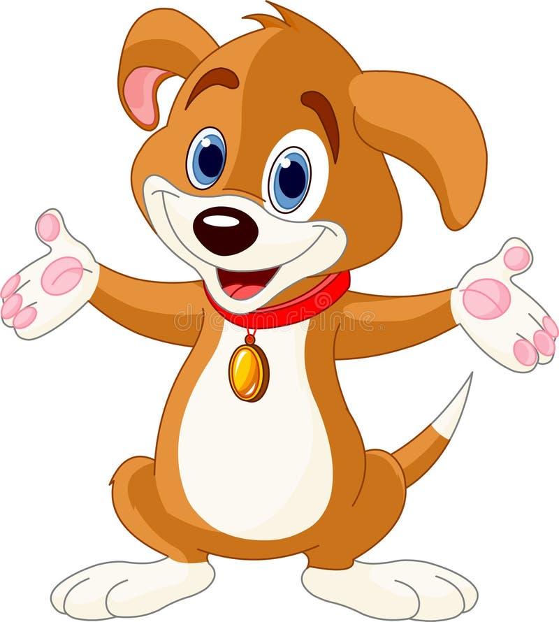 Filhote de cachorro bonito que levanta suas mãos ilustração do vetor