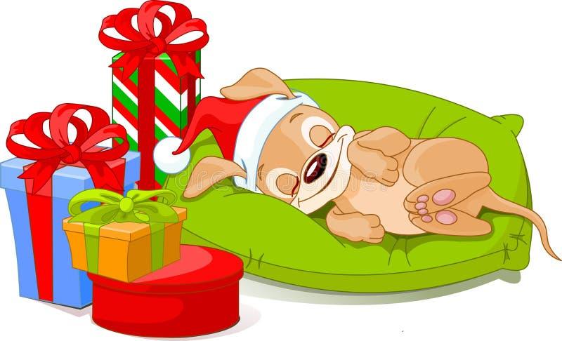 Filhote de cachorro do Natal ilustração do vetor