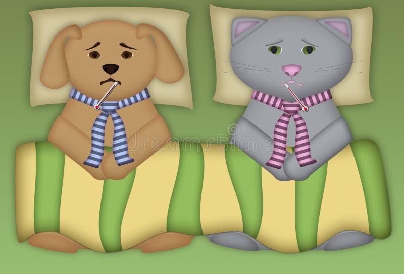 Filhote de cachorro e vaquinha doentes ilustração do vetor