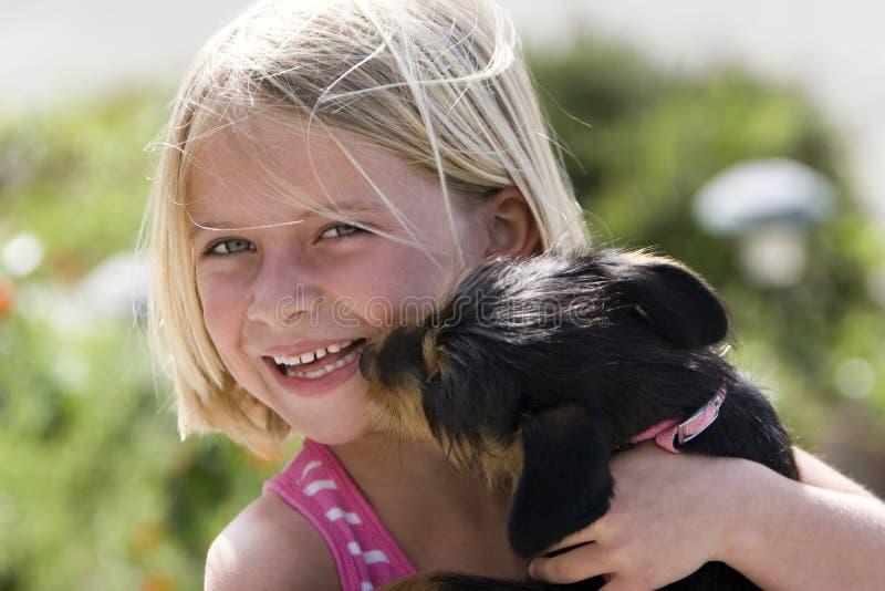 Filhote de cachorro que lambe a face da menina imagem de stock