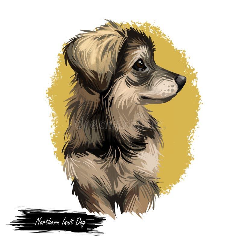 Filhote de Inuit do Norte, designer criou um cão de arte digital do Canadá ilustração royalty free