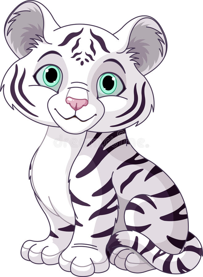Filhote de tigre branco ilustração stock
