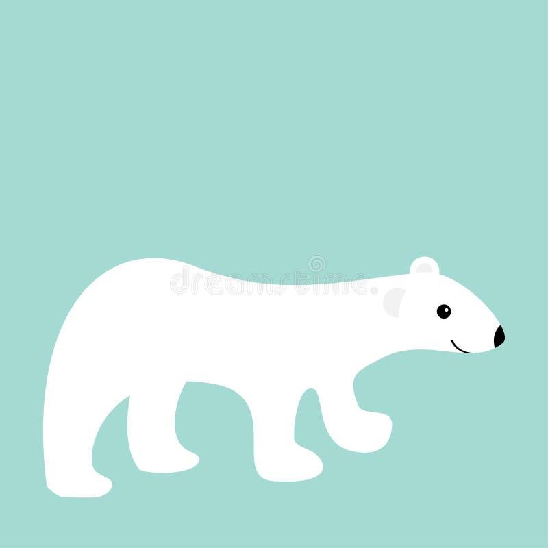 Filhote de urso branco polar ártico Caráter bonito do bebê dos desenhos animados Projeto liso Fundo do azul do inverno ilustração royalty free