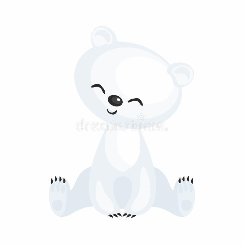 Filhote de urso polar bonito ilustração do vetor