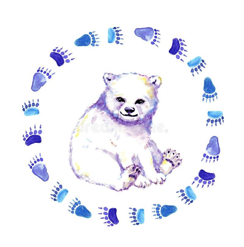 Filhote de urso polar bonito, animal do urso branco na grinalda com pegada watercolor ilustração do vetor