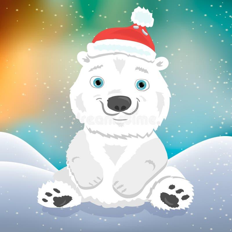 Filhote de urso polar bonito dos desenhos animados no chapéu do Natal ilustração stock